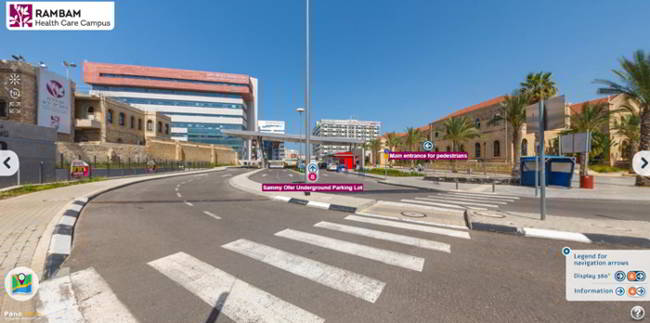virtual tour around Rambam Health Care Campus